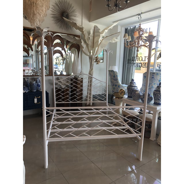 Vintage Chinese Chippendale Palm Tree Leaf Metal Four Poster Queen Full Size Bed For Sale - Image 11 of 12