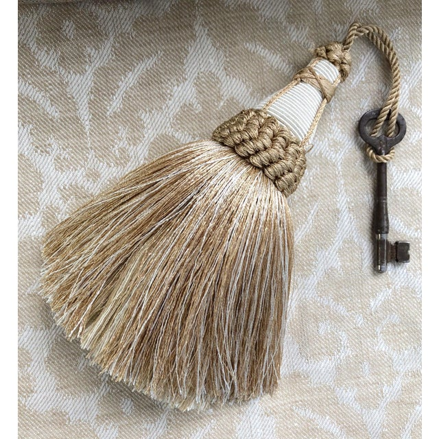 Sand Tan and White Key Tassel With Looped Ruche Trim For Sale - Image 8 of 10