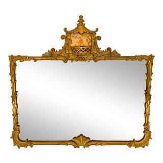1930s Chinoiserie Gilt Wood Mirror For Sale