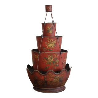18th Century Red Tole Four-Tier Monteith For Sale
