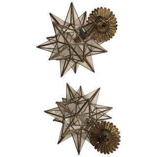 Mid-Century Style Rustic Sputnik Chandeliers - a Pair