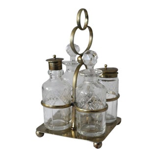 Antique English Cut Glass and Silver Plate Cruet Set For Sale