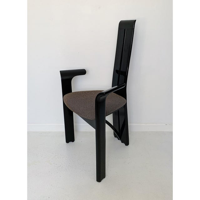 1990s Vintage Italian Pietro Costantini High Back Black Lacquer Dining Chairs- Set of 6 For Sale In Minneapolis - Image 6 of 13