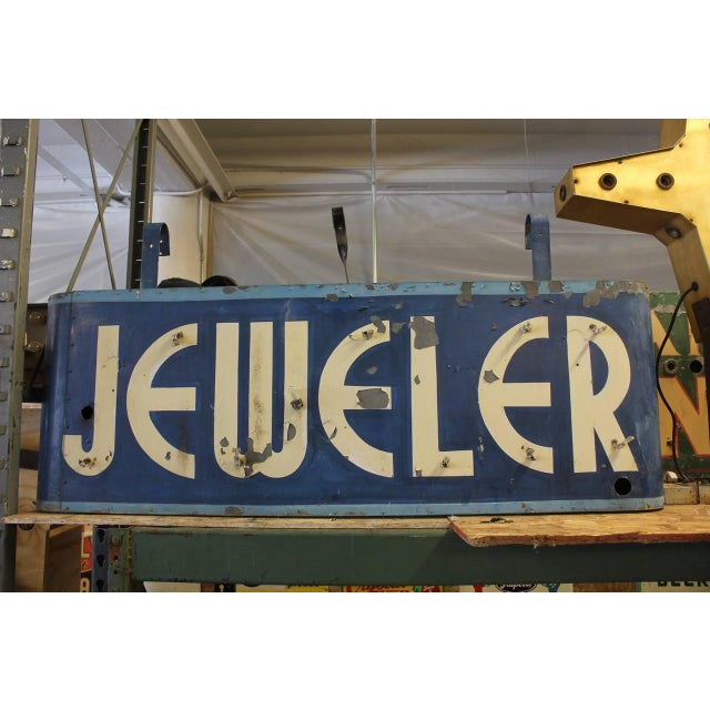 """Art Deco double sided metal JEWELER sign. Please contact us for the quote for the neon sign. height with brackets 28.5"""""""
