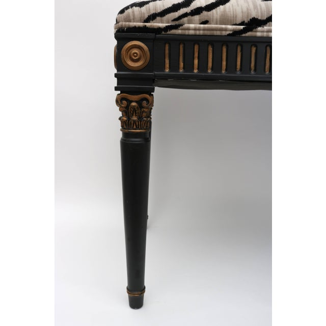 Metal Louis XVI Bench in Black and Gold With Bengal Tiger Motif Fabric For Sale - Image 7 of 9