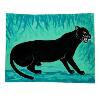 Safari Chinoiserie Black Panther Leopard Painting by Cleo Plowden For Sale