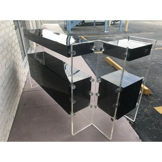 Mid-Century Modern Lucite and Black Acrylic L Shaped Bar Preview