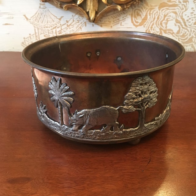 African African Wildlife Copper and Silverplate Jardinere For Sale - Image 3 of 9