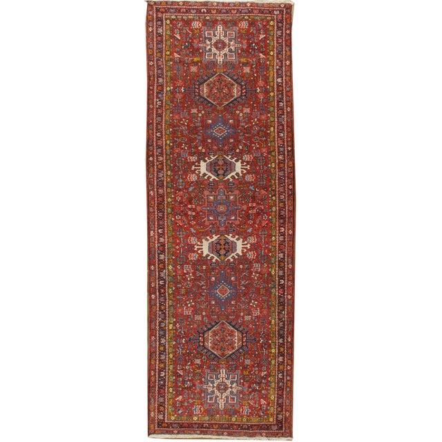 Textile Vintage Heriz Runner Rug 3'4 X 10'6 For Sale - Image 7 of 7