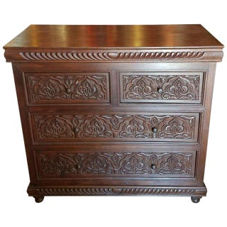 Moroccan Carved Wooden Cabinet For Sale