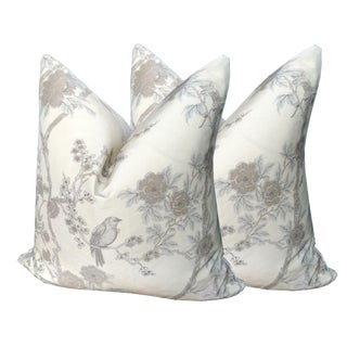 Ralph Lauren Chinoiserie Cherry Blossom and Nightingale Pillows - A Pair For Sale