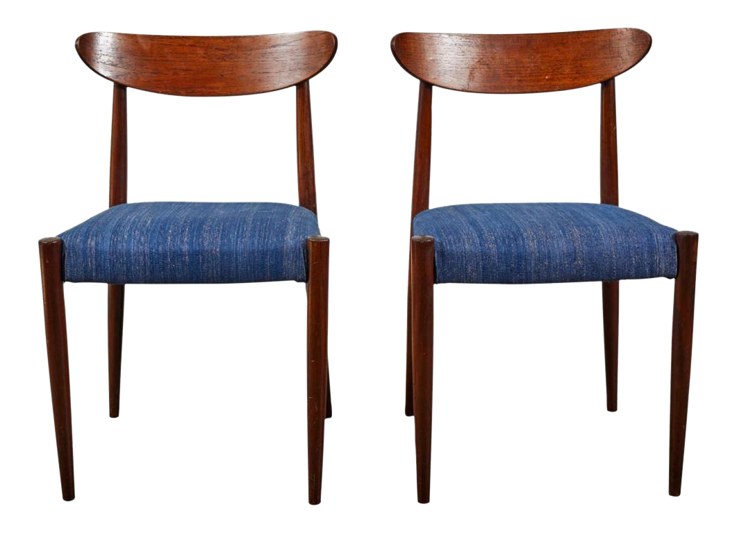 Picture of: Pair Of Midcentury Blue Upholstered Dining Chairs With Tapered Legs Chairish