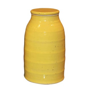 Contemporary Yellow Lidded Jar For Sale