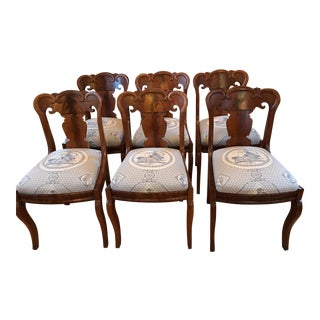 1830's Walnut Austrian Empire Dining Room Chairs - Set of 6 For Sale