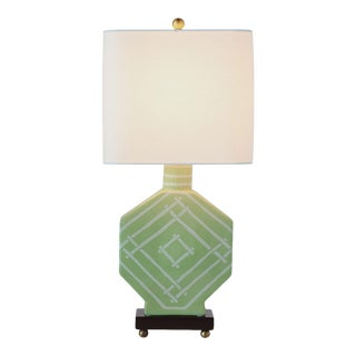 Madcap Cottage Green Bamboo Fretwork Porcelain Table Lamp For Sale
