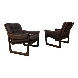 1970s Danish Modern Oddvar Vad Leather Lounge Chairs - a Pair
