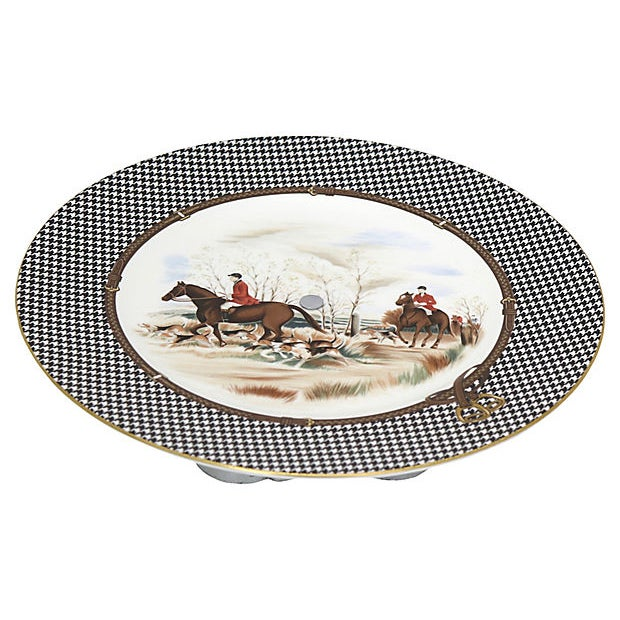 "Ralph Lauren ""Balmoral Hunt"" scene cake plate on chrome stand. Maker's mark on underside. Light wear."