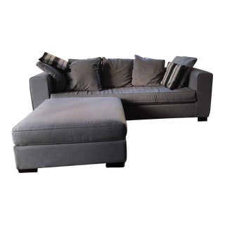 West Elm Contemporary Gray Upholstered Sofa and Ottoman Set