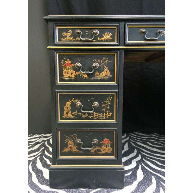 """""""Chinoiserie Kneehole Parsons Sligh-Lowry Desk"""" For Sale - Image 4 of 11"""