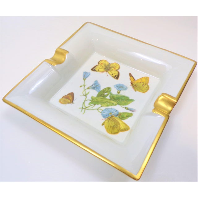 White Vintage Hermes Style Butterfly Ashtray With Suede Bottom For Sale - Image 8 of 13