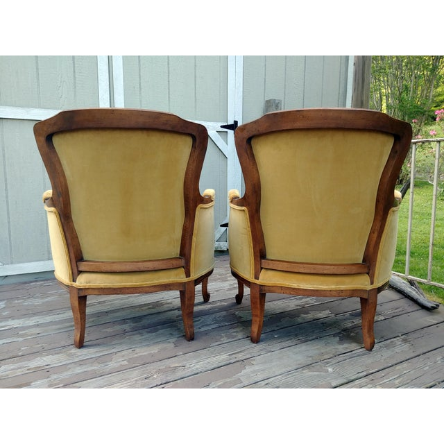 Meyer Gunther Martini Vintage Meyer Gunther Martini Louis XV Carved Hardwood Bergere French Chairs- a Pair For Sale - Image 4 of 13
