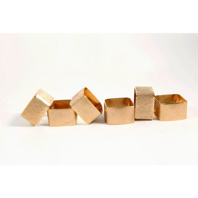 Brushed Gold Modernist Napkin Rings - Set of 6 - Image 3 of 5
