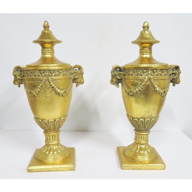 Wood Neoclassical Gilt Carved Urns - a Pair For Sale - Image 7 of 7