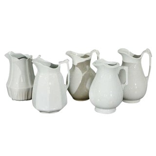 19th Century English White Ironstone Pitchers For Sale