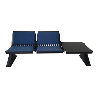 Industrial Metal Bench with Blue Fabric and Table by Artifort