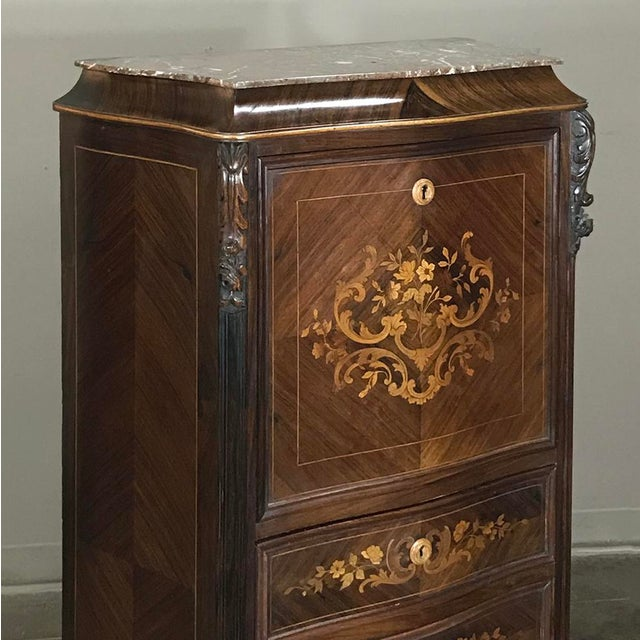 19th Century French Parisienne Rosewood Marble Top Drop-Front Secretary For Sale - Image 12 of 13