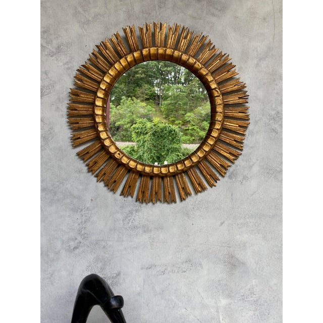 Spanish Giltwood Sunburst Mirror For Sale - Image 10 of 12