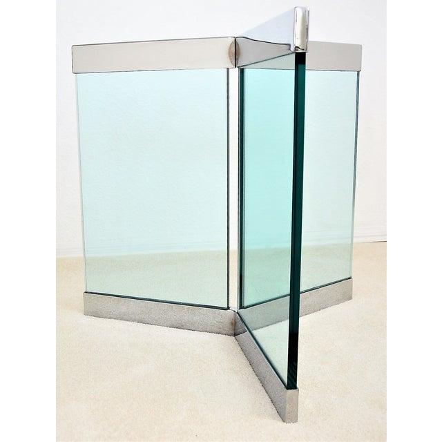 Chrome 1970s Leon Rosen for Pace Pedestal Base- Mid Century Modern MCM Chrome Glass Art Deco Minimalist For Sale - Image 7 of 8
