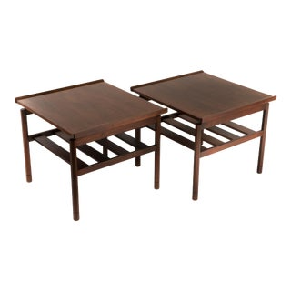 1970s Mid Century Modern Floating Top Walnut End Tables Sun and Ray Inlay- a Pair For Sale