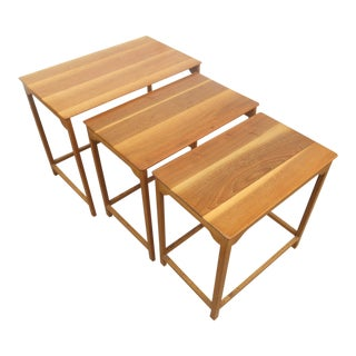 1950s Mid-Century Modern Edward Wormley for Dunbar 3 Piece Nesting Tables - 3 Piece Set For Sale