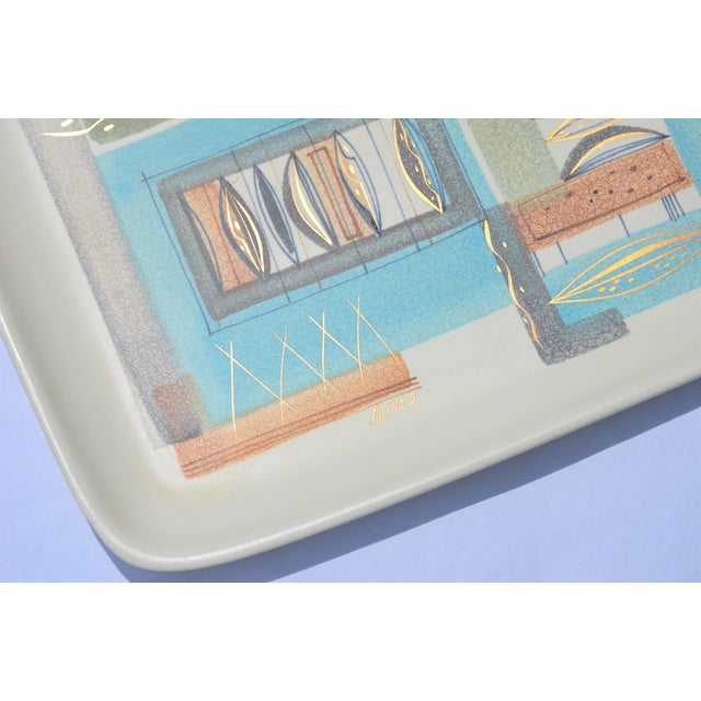 1950s Sascha Brastoff Ceramic Tray and Oval Bowl - a Pair For Sale - Image 9 of 13