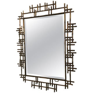 Brutalist Gilt Metal Wall Mirrors For Sale