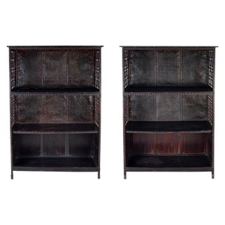 Pair of Asian Bamboo Open Cabinets For Sale