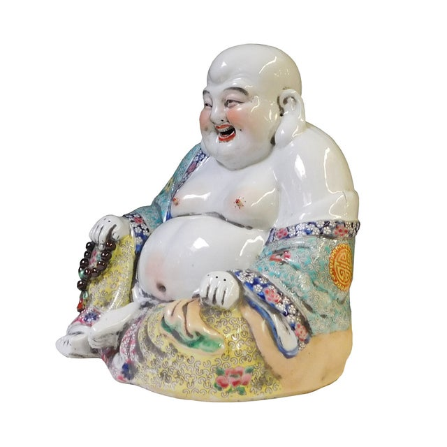 Chinese Porcelain Canton Happy Buddha Statue - Image 2 of 8