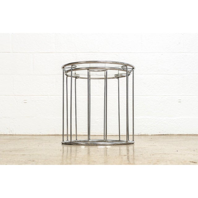 Mid Century Baughman Style Chrome & Glass Nesting Side Tables For Sale - Image 11 of 11