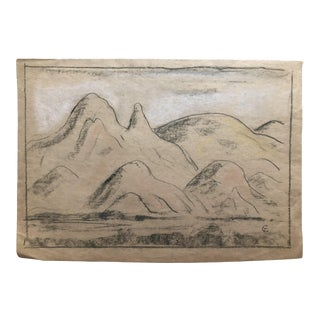 1930s Vintage Modern View of Mountains Eliot Clark Drawing For Sale