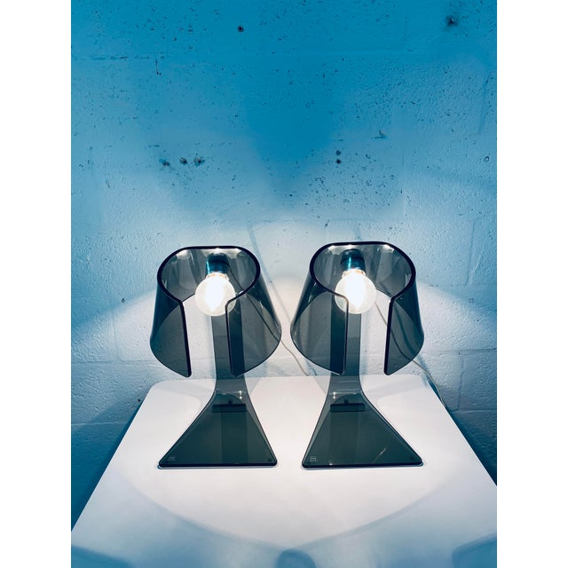 Pair of L'astra Smoked Gray Glass Table or Desk Lamps by Fiam Italia For Sale - Image 9 of 13