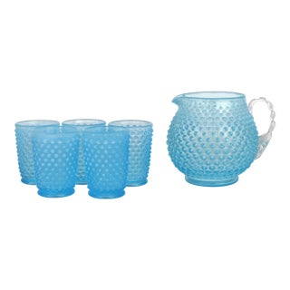 1960s Hobnail Pitcher & Glass Set of 6 For Sale