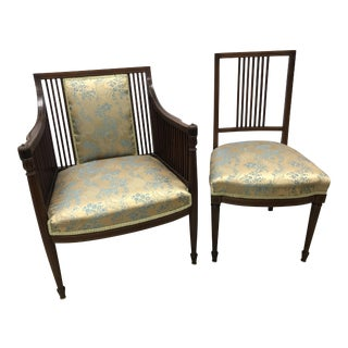 Federal Style His and Hers Mahogany Inlay Chairs - a Pair