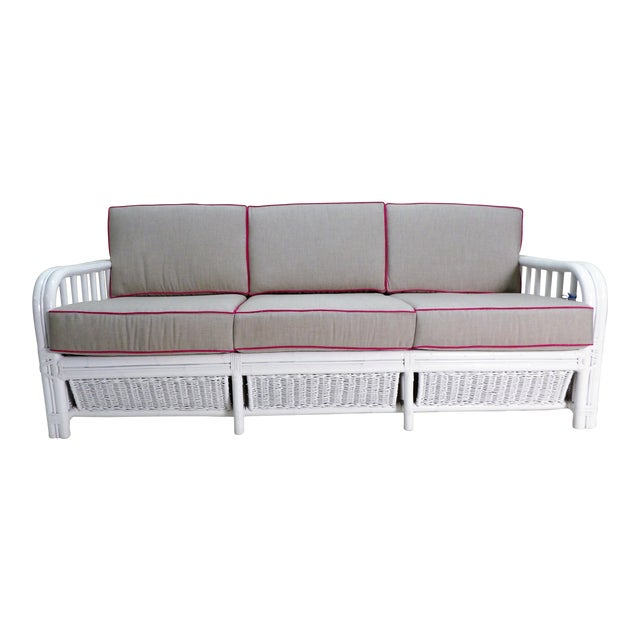 Vintage White Rattan Sofa, New Custom Gray Cushions For Sale