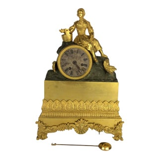 French Bronze 19th Century Gold Gilt & Patinated Clock