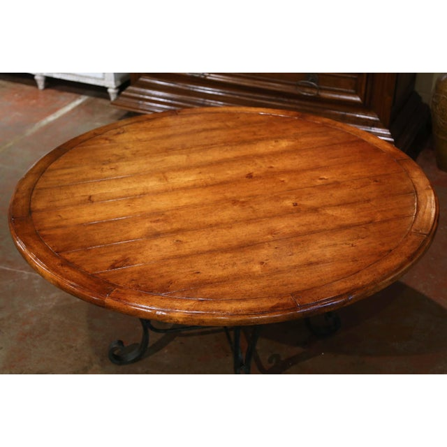 French Vintage Walnut Round Dining Room Table on Four-Leg Wrought Iron Base For Sale - Image 3 of 9