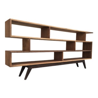 Handcrafted Staggered Bookcase in Walnut For Sale