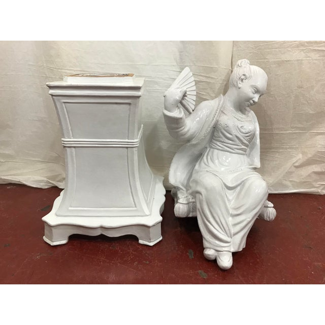 Italian White Glazed Asian Figures a Pair For Sale - Image 6 of 9