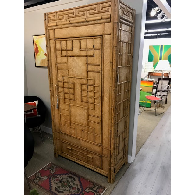Vintage Rattan Bamboo Armoire Cabinet With Lucite And Brass Handle - Image 10 of 11