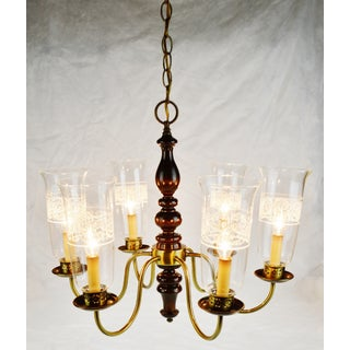 Vintage 6 Arm Wood Brass & Glass Chandelier Preview